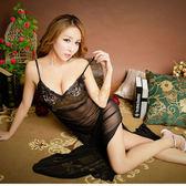性感睡衣 情趣用品 蕾絲睡衣 秀麗花紋薄紗深V長袍-黑『年中慶』