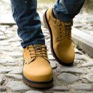 工裝鞋歐美馬丁靴男低筒夏季圓頭繫帶透氣工裝靴休閒鞋大頭鞋低跟四季款店長推薦好康八折