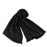 美國正品 COACH 經典Logo羊毛混絲薄圍巾-黑色【現貨】