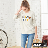 【JEEP】女裝 立體多彩文字保暖長袖TEE (象牙白)