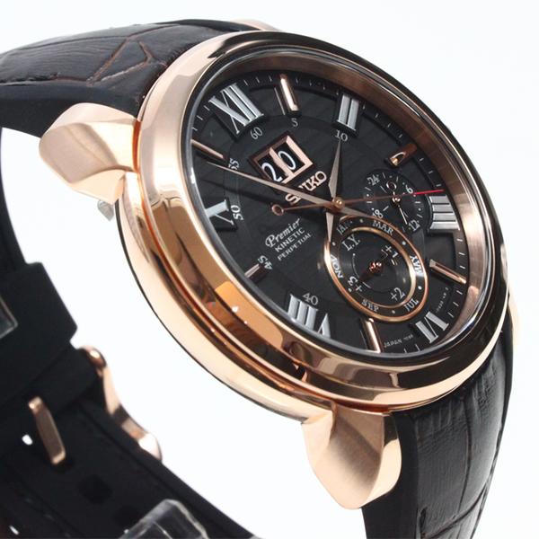 [萬年鐘錶]  SEIKO Premier Kinetic 人動電能 萬年曆 百米防水 黑錶面 玫瑰金殼 7D56-0AE0K (SNP146J1)