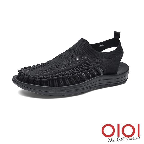 涼鞋 玩潮飛織編織繩情侶鞋(男女款-全黑)*0101shoes【18-D999bk】【現+預】
