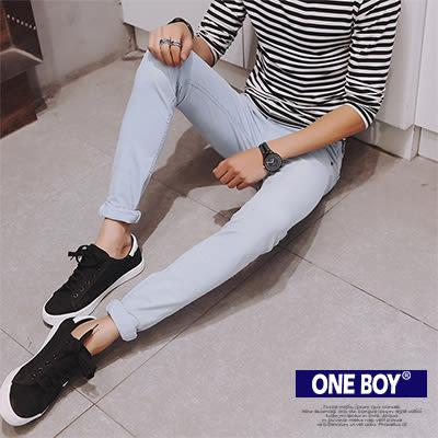 『 One Boy 』【N92911】秋冬韓版超修身無印剪裁休閒長褲