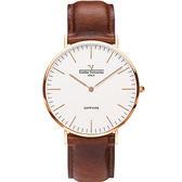 【VALENTINO 范倫鐵諾】經典皮革手錶-36mm 71418B白面玫瑰金咖啡帶