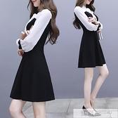 洋裝 初秋新款名媛赫本小香風小黑裙女秋季長袖中長款雪紡假兩件連身裙  女神購物節