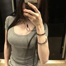 2021夏季新款女裝韓版性感低胸大U領修身上衣顯瘦短袖t恤打底衫女快速出貨
