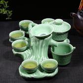 茶具 景德鎮創意樹樁茶具家用青瓷功夫荼具套裝手繪泡茶壺茶杯茶盤整T
