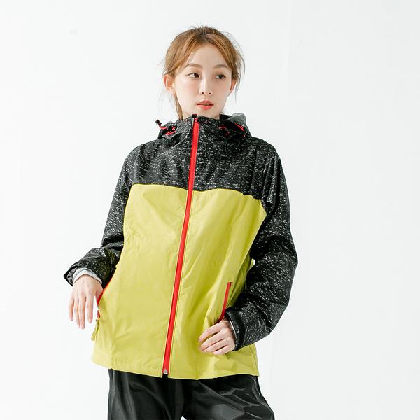 君邁雨衣,邁邁不積水前項導流兩件式風雨衣,芥末黃