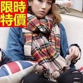 羊毛披肩-英倫格子球球毛線加厚女圍巾63ag41【巴黎精品】
