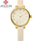 JULIUS 聚利時 花漾時光立體鏡面皮錶帶腕錶-米白色/32mm 【JA-886C】