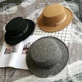 紳士帽 英倫復古毛呢帽平頂小禮帽男女春秋出游黑色遮陽帽韓版毛氈帽休閒 夢藝