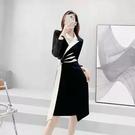 長袖洋裝 款長袖西裝OL洋裝 高端名媛氣質通勤高腰A字裙子女中長版