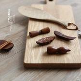 川島屋日式和風原木筷子架筷子托樹葉小魚形狀筷托筷枕筷架