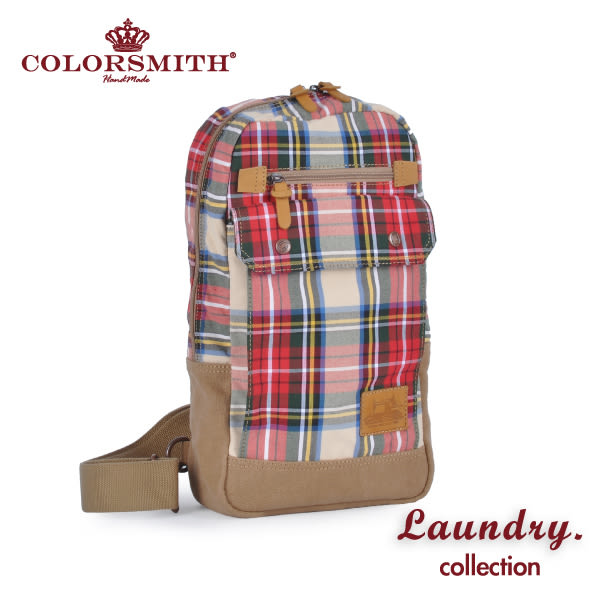 【COLORSMITH】LD・方型單肩後背包-紅格紋・LD1327-RH