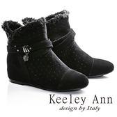 ★2016秋冬★Keeley Ann異國情懷~絨毛滾邊皮帶環釦造型真皮內增高短靴(黑色)