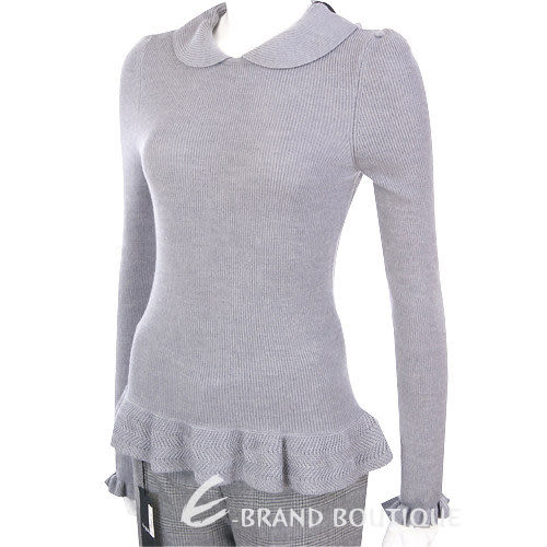 VALENTINO 灰色荷葉造型針織上衣 1230423-06