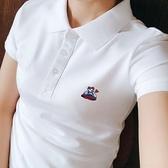 夏季帶領t恤女純棉翻領衫女 小熊短袖女士有領半袖上衣白色潮 【端午節特惠】
