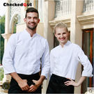 長袖廚師服麵點工作服單排扣廚房白色廚師服裝女廚師工作服