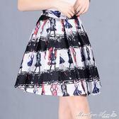 印花a字裙半身裙女短裙春季新款歐根紗蓬蓬裙修身顯瘦百褶裙 瑪麗蓮安