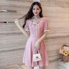 方領洋裝 系帶方領連身裙女2021年夏季新款法式甜美收腰顯瘦純色短袖裙子 晶彩