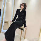 連身褲裝明線裝飾垂感西裝連體褲秋裝新款女氣質高腰闊腿黑色連衣褲 快速出貨
