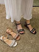 涼鞋女百搭時尚珍珠一字帶仙女ins潮晚晚粗跟高跟鞋  伊衫風尚