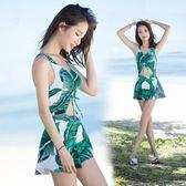 連體泳衣 夏季新款韓版連體顯瘦游泳衣時尚性感女裝LJ7236『夢幻家居』