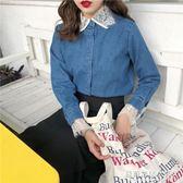 春季襯衫女 春裝韓版氣質蕾絲拼接假兩件寬鬆長袖牛仔襯衫學生打底襯衣上衣女 蘇荷精品女裝