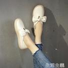 護士鞋 平底單鞋女春兩穿小白鞋女淺口護士鞋韓版百搭蝴蝶結軟底孕婦 生活主義