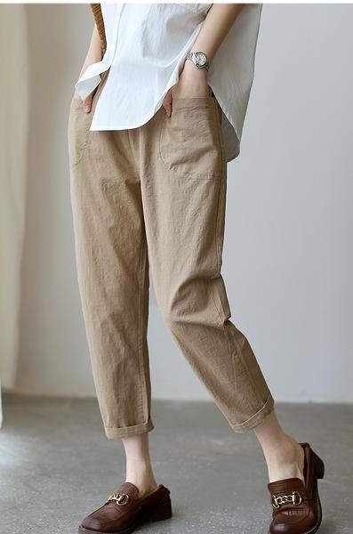 棉麻鬆顯瘦百搭薄哈倫長褲子四色可選/設計家K4263