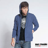 BIG TRAIN  竹節羅紋出芽連帽外套-男-灰藍