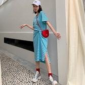 漂亮小媽咪 韓系扭結 開岔 洋裝 【D2107】條紋 開叉 長裙 短袖 休閒 連身裙 孕婦裝