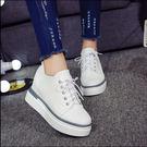 女生休閒內增高厚底系帶小白鞋DL9261『黑色妹妹』