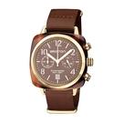 BRISTON CLUBMASTER 經典雙眼計時腕錶-金框X可可色