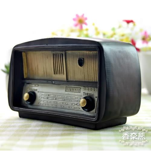zakka雜貨 復古懷舊老式收音機造型樹脂存錢筒 懷舊工藝擺飾 Nice Bear香奈熊