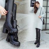 馬丁靴圓頭中筒靴粗跟厚底