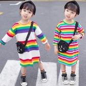童裝休閒童裙女童新款春裝裙子中小童兒童彩色條紋洋裝 原本良品