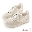 amai異材質拼接厚底休閒鞋 白X淺灰
