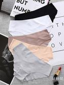 三送一無痕一片式低腰性感棉質檔三角內褲女士蕾絲中腰冰絲牛奶絲 年貨慶典 限時鉅惠