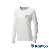 K-SWISS Long Sleeve T-Shirts 印花長袖T恤-女-白