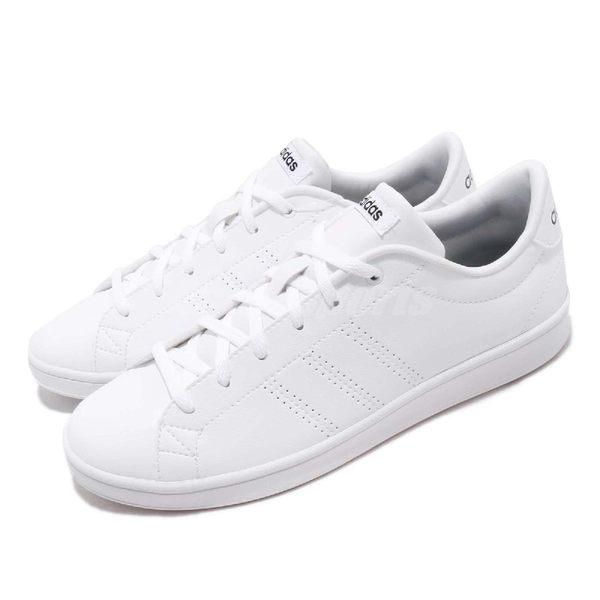 adidas 休閒鞋 Advantage Clean QT 白 全白 小白鞋 皮革 百搭 基本款 女鞋【PUMP306】 B44667