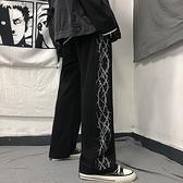 秋季2020年新款原宿風褲子個性黑色休閒褲寬鬆直筒闊腿褲女潮