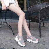 涼鞋女鞋平底學生百搭平跟魚嘴松糕鞋子厚底簡約【蘇迪蔓】