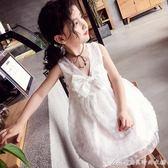 夏裝新款女童V領洋裝洋氣兒童蝴蝶結公主裙禮服潮艾美時尚衣櫥