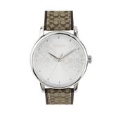 COACH 緹花C LOGO真皮針釦式女錶腕錶36mm(14503405 卡其咖啡)