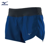 MIZUNO 女裝 短褲 慢跑 路跑 後中口袋 內裏褲 透氣 舒適 深藍 藍【運動世界】J2TB925715