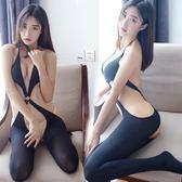 性感開襠露背情趣絲襪黑色極度誘惑情趣內衣連體襪騷連身網衣女【優惠兩天】