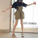 背帶短褲兩件套裝胖MM炸街夏裝顯瘦連衣裙子大碼女裝2021年新款潮
