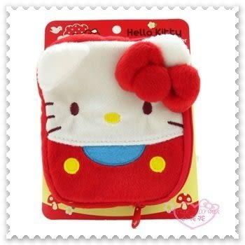 ♥小花花日本精品♥ Hello Kitty 大臉 立體 蝴蝶結 紅色 暖手包 內附一次性使用暖暖包 333005706