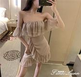 2021年夏天性感抹胸一字肩荷葉邊裙子夜店女裝夏季新款氣質洋裝 范思蓮恩